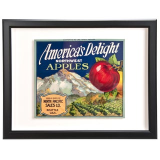 Framed Vintage America's Delight Apples Crate Label