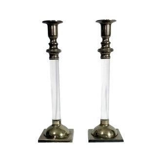 Art Deco Lucite & Silver Candlesticks - A Pair