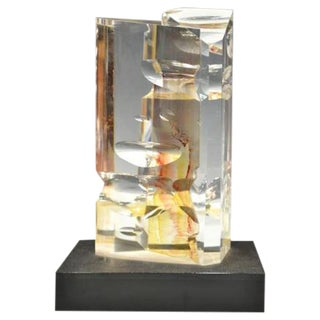 Modern Design Color Infused Art Glass Sculpture