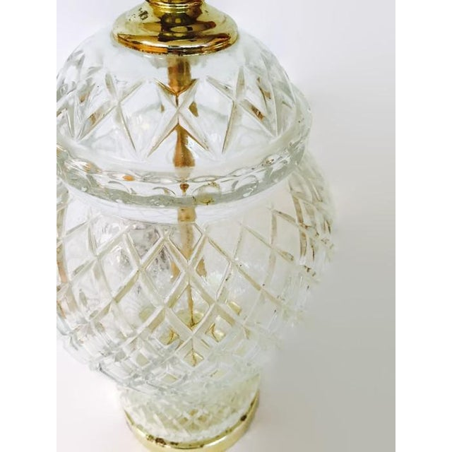 Vintage Chinoiserie Cut Glass Ginger Jar Lamp - Image 5 of 6