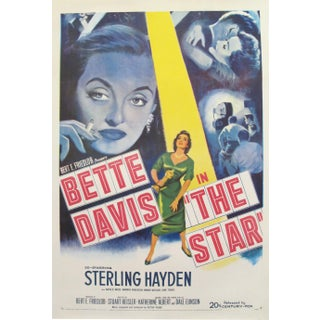 1952 Vintage 'Bette Davis in The Star' American Movie Poster