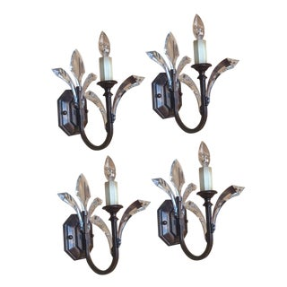 Bronze & Crystal Wall Sconces - Set of 4