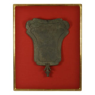 Framed Chinese Bronze Fan-Shaped Temple Standard