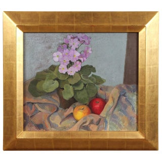 Apples and Flowers Still Life by William Gaw