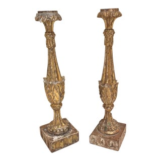 Carved Giltwood Candle Holders - A Pair