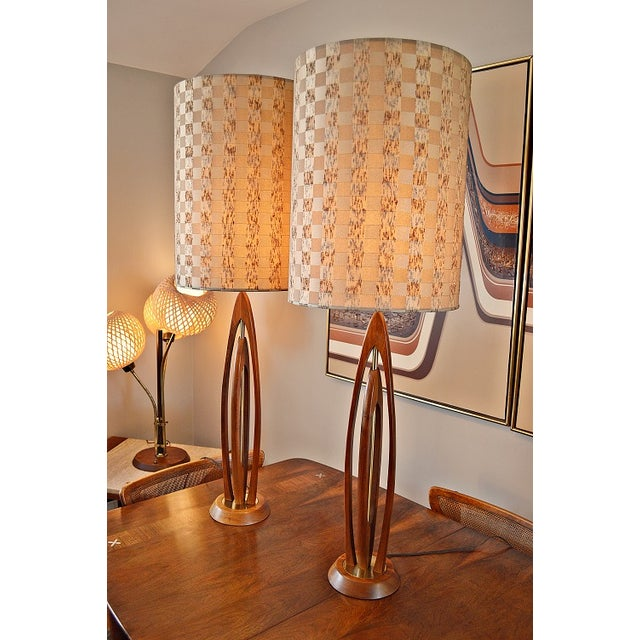 Image of Danish-Style Sculpted Teak Lamps- A Pair