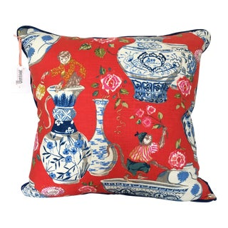 Chinoiserie Persimmon Red Linen Pillow