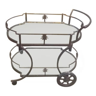 Cast Aluminum Palm Tree Rolling Tea Cart