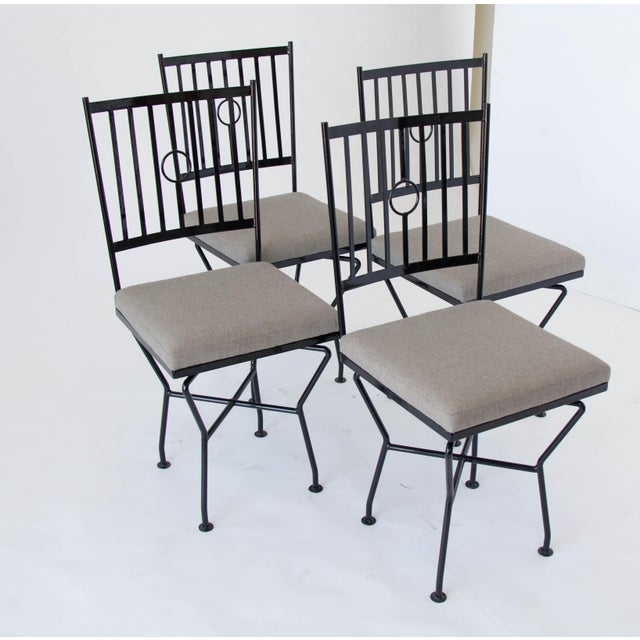 Wrought Iron Dining Room Sets: Swivel Wrought Iron Patio Dining Chairs - 4