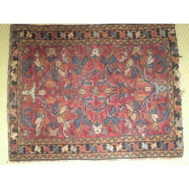Image of Small Traditional 1900s Red Blue Rug - 2'' x 2''