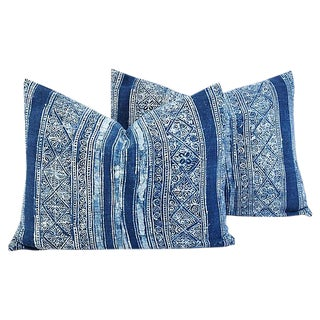 Custom Tailored Indigo Blue & White Batik Feather/Down Pillows - Pair