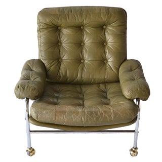 1970's Olive Green Tufted Leather Lounge Chair