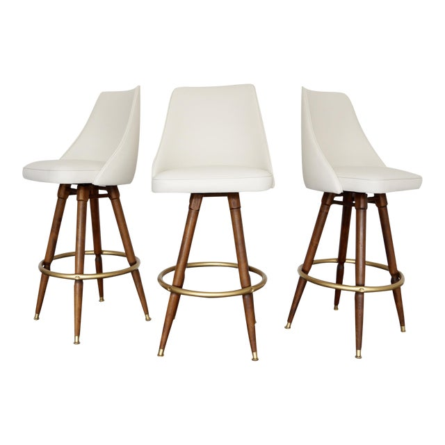 Mid-Century Hollywood Regency Bar Stools - Set of 3 - Image 1 of 11