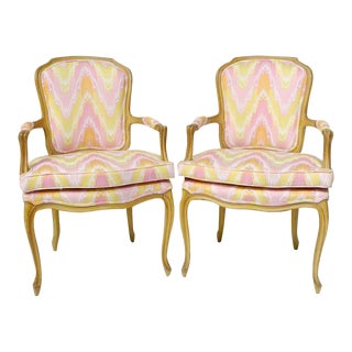 Pair of 1940s Louis XV Style Fauteuils in Colorful New Flamestitch Upholstery