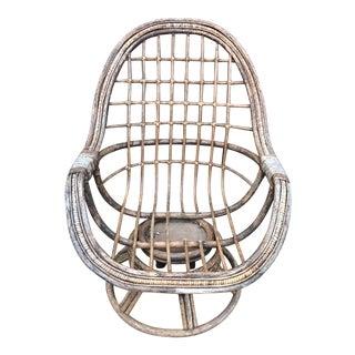 Mid-Century Rattan Bamboo Rocking Swivel Chair