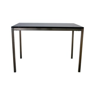 Bronzed Steel & Smoke Glass Parsons Side Table