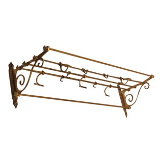 Antique Coat and Hat Brass Wall Rack