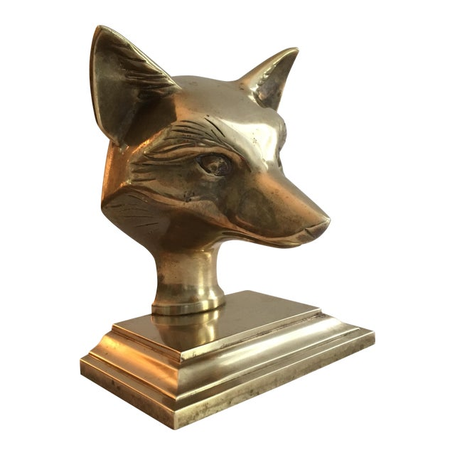 Vintage Solid Brass Fox Head Bookend - Image 1 of 7