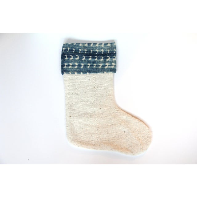 Vintage Indigo and Mudcloth Christmas Stocking - Image 2 of 5