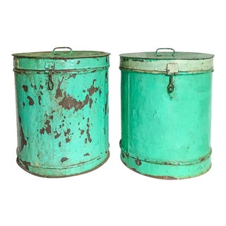 Large Pair of Indian Turquoise Painted Tankis