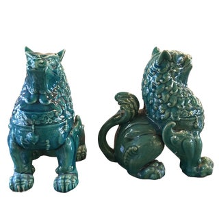 Glazed Ceramic Foo Dogs - Pair