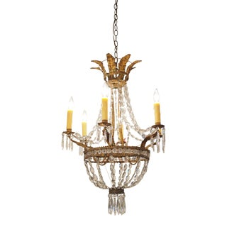 Italian Neoclassical Gilt Tole and Crystal Chandelier