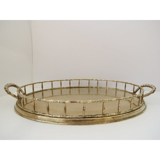 Image of Brass Bamboo Style Serving Tray