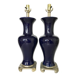 Vintage Blue Ceramic Lamps - A Pair