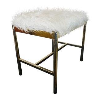 Faux Fur Brass Vanity Stool