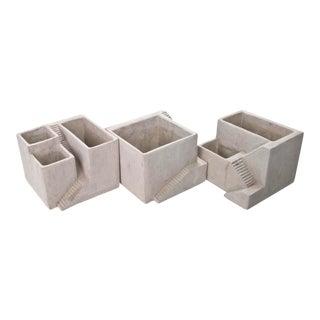 Architectural Style Concrete Planters - Set of 3