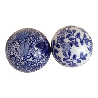 Blue & White Ceramic Balls - A Pair