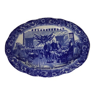 Declaration of Independence Motif Blue & White Platter