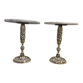 Pierced Brass & Marble Side Tables - A Pair