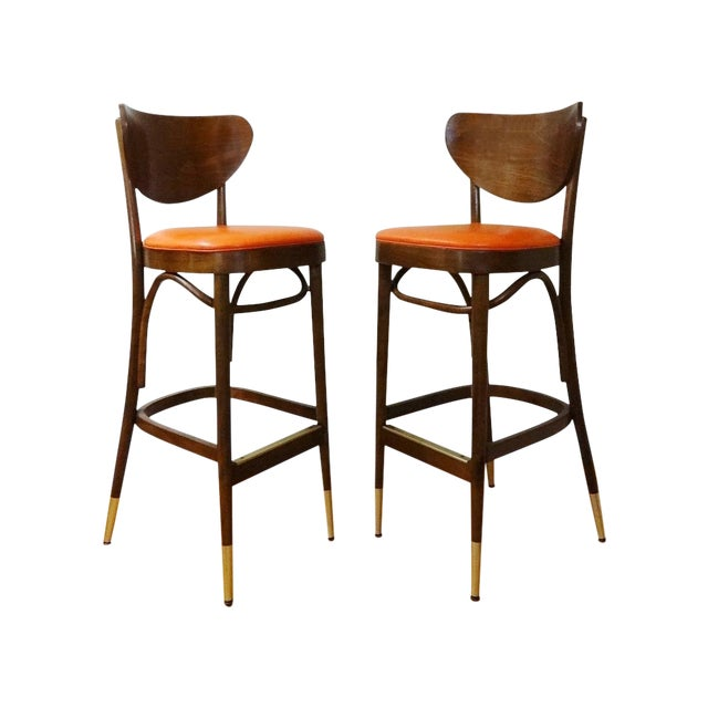 Mid-Century Bentwood Bar Stools - A Pair - Image 1 of 6