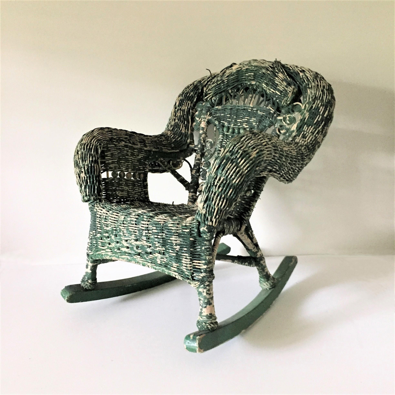 vintage childu0027s wicker rocking chair image 2 of 11