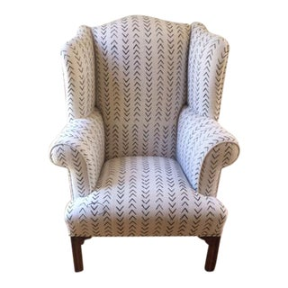 Vintage Mudcloth Wing Chair