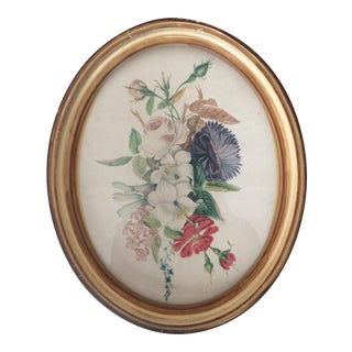 Vintage Oval Framed Floral Art