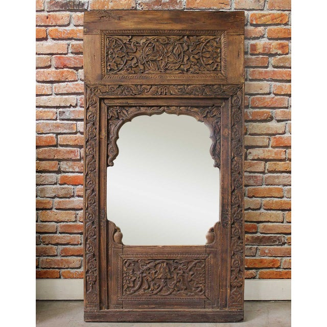 Handcarved Wooden Mirror - Image 2 of 4