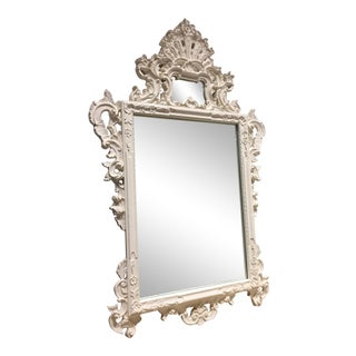 Ornate Oversized White Painted Frame Mirror
