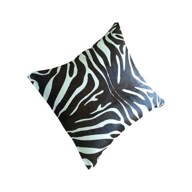 Image of Zebra Print Cowhide Pillows - A Pair