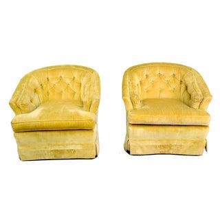 Marge Carson Tufted Chartruese Club Chairs- A Pair