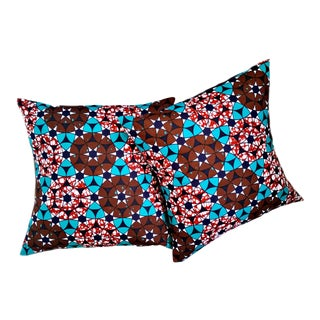 Psychedelic African Print Fabric Pillow Covers - a Pair