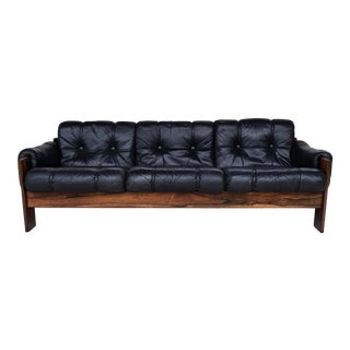 Mid Century Modern Nordic Rosewood & Leather Sofa
