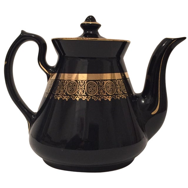 """Black and Gold Hollywood Regency """"Hall Usa"""" Teapot - Image 1 of 9"""