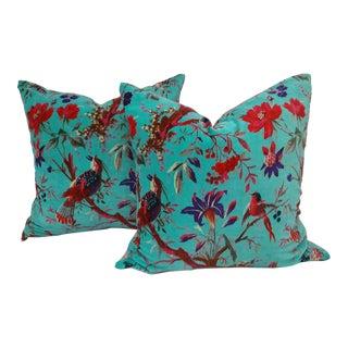 Teal Cotton Velvet Pillows - A Pair
