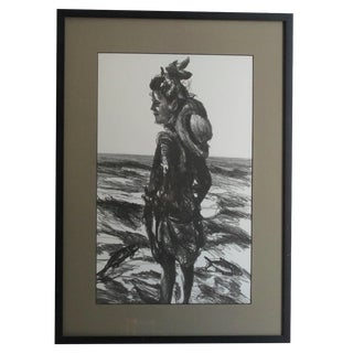 Woman at the Beach Lithograph