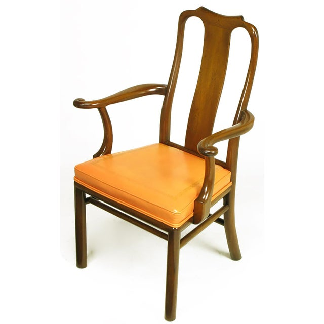 Six Walnut and Tooled Leather Splat-Back Dining Chairs - Image 2 of 10
