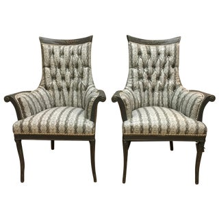 Antique French Faux Snake-Skin Chairs - A Pair