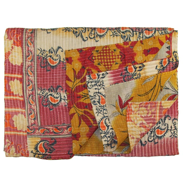 Vintage Red & Pink Kantha Quilt - Image 1 of 3