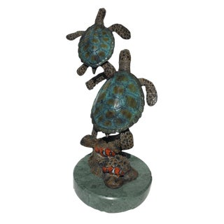 Enameled Bronze Sea Turtles Sculpture